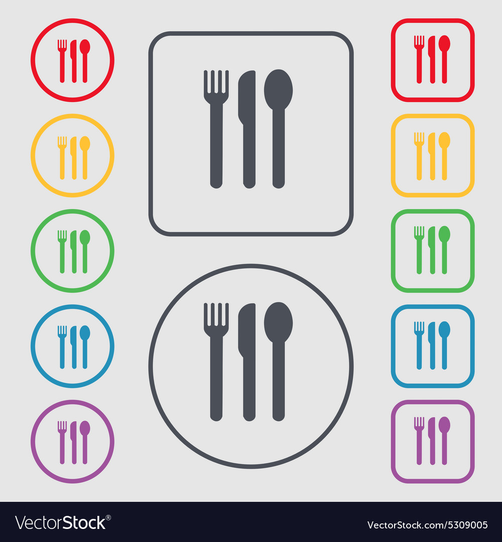 Fork knife spoon icon sign symbol on the round and vector