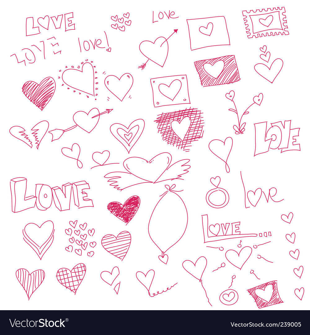 Heart sketches vector