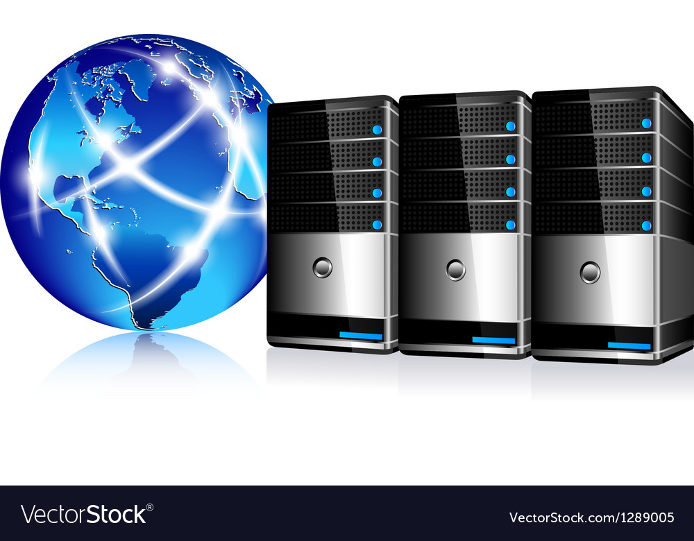 Servers and communication internet world vector