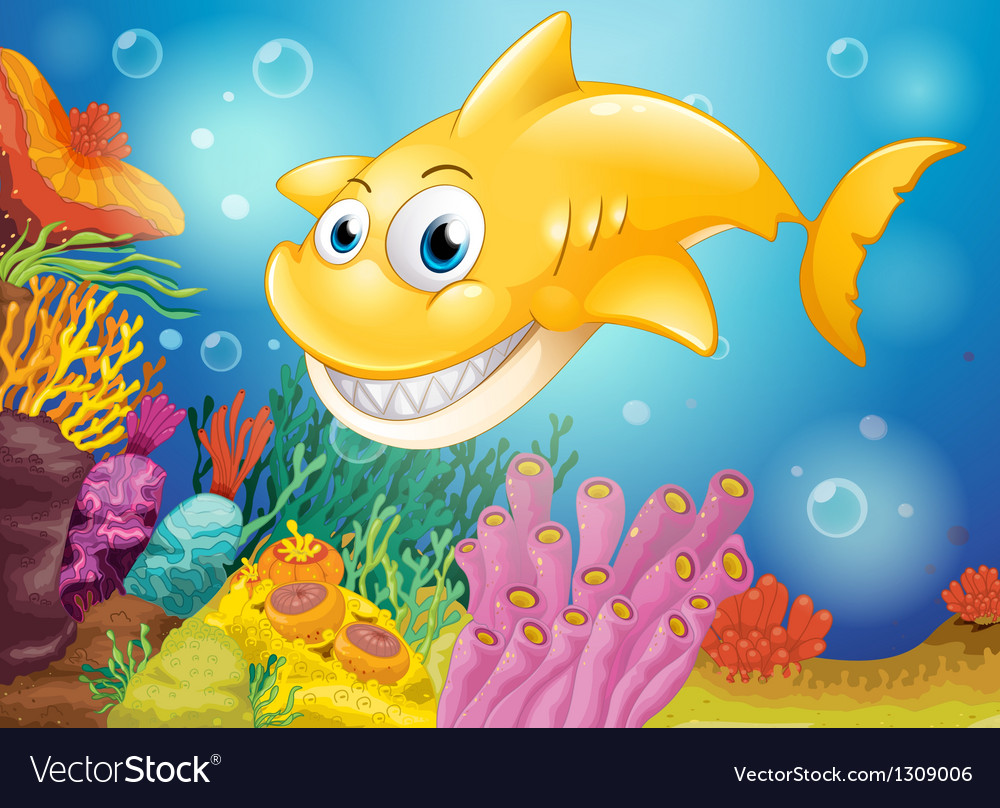 A smiling yellow shark under the sea vector
