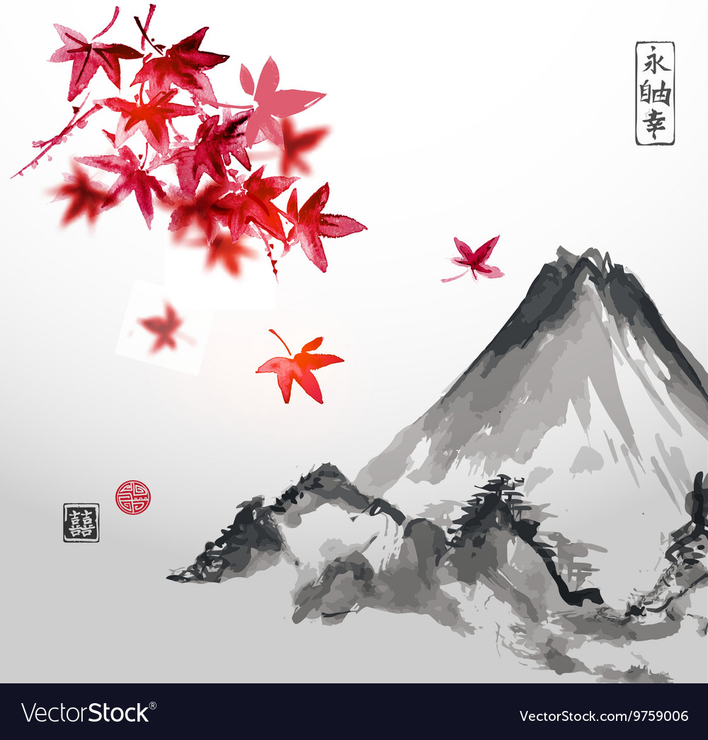 Red japanese maple trees and fujiyama mountain vector