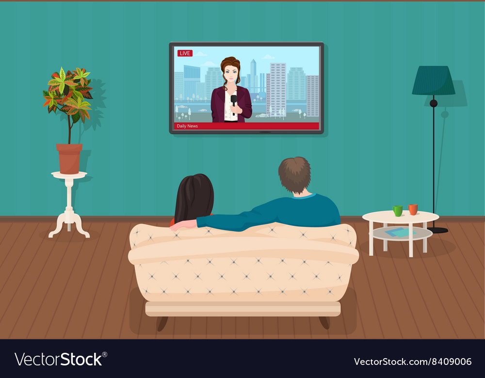 Young family man and women watching tv daily news vector