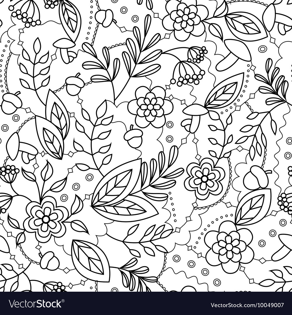 Autumn seamless pattern coloring vector