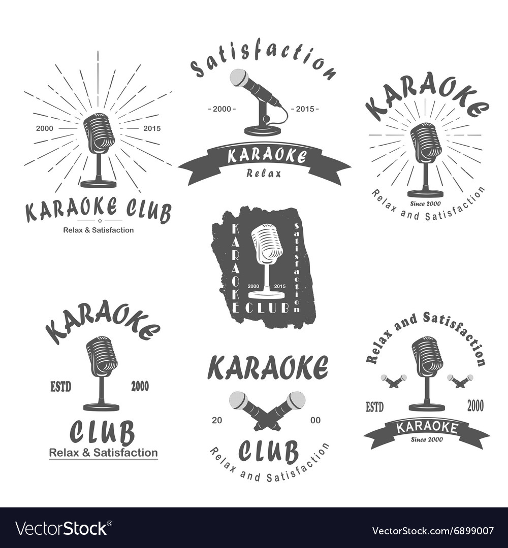 Karaoke club microphone retro song vector