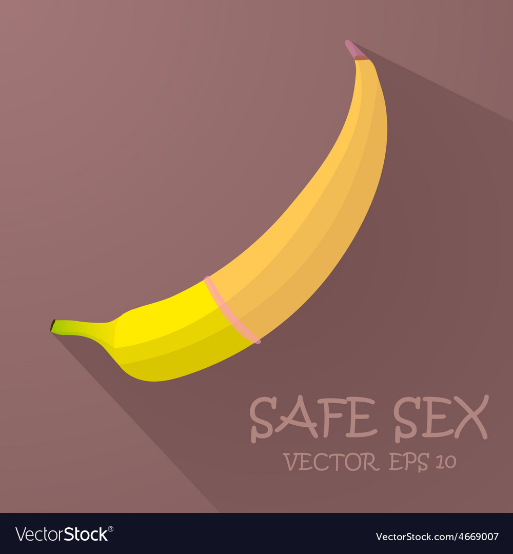 Safe sex with a condom vector