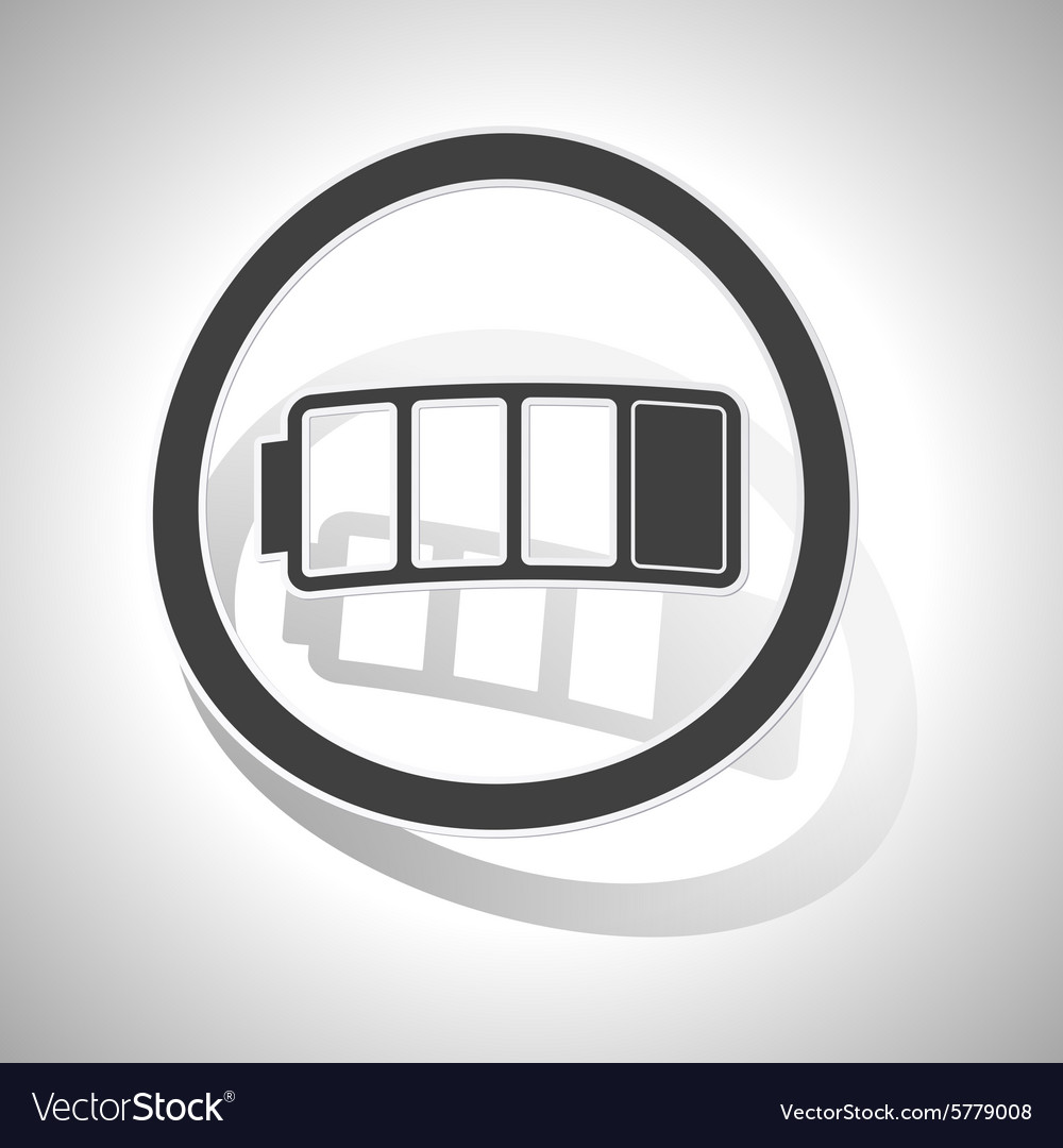 Curved low battery sign icon vector