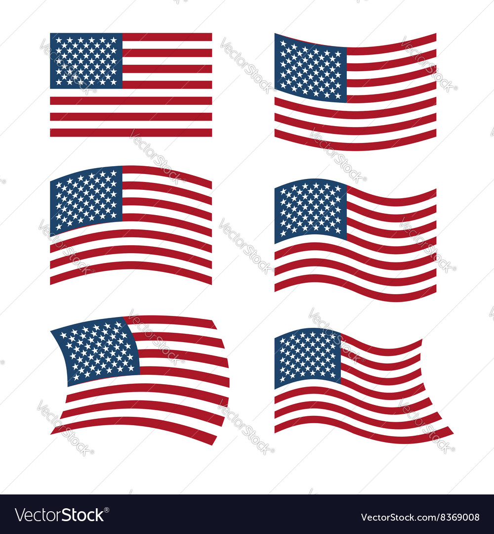 Flag of usa set of flags of america in various vector
