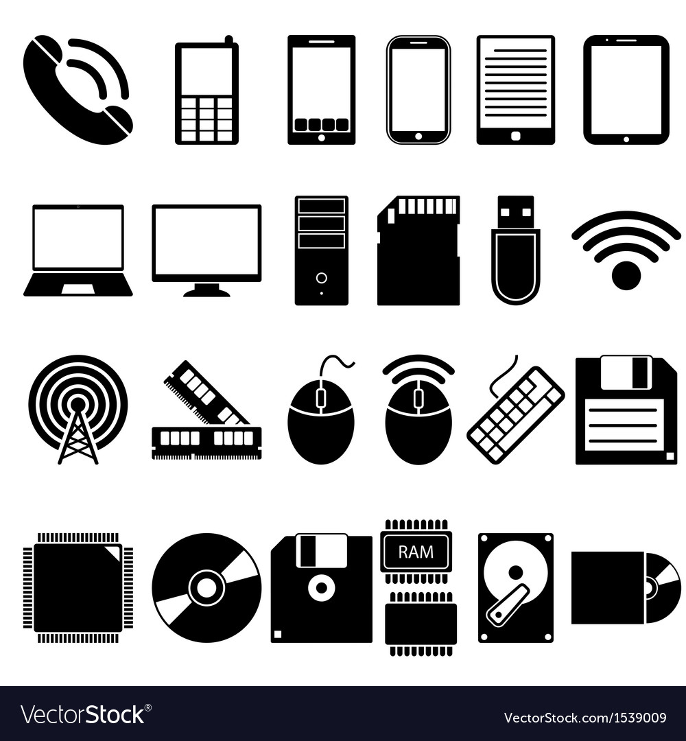 Set of mobile and computer devices icons vector