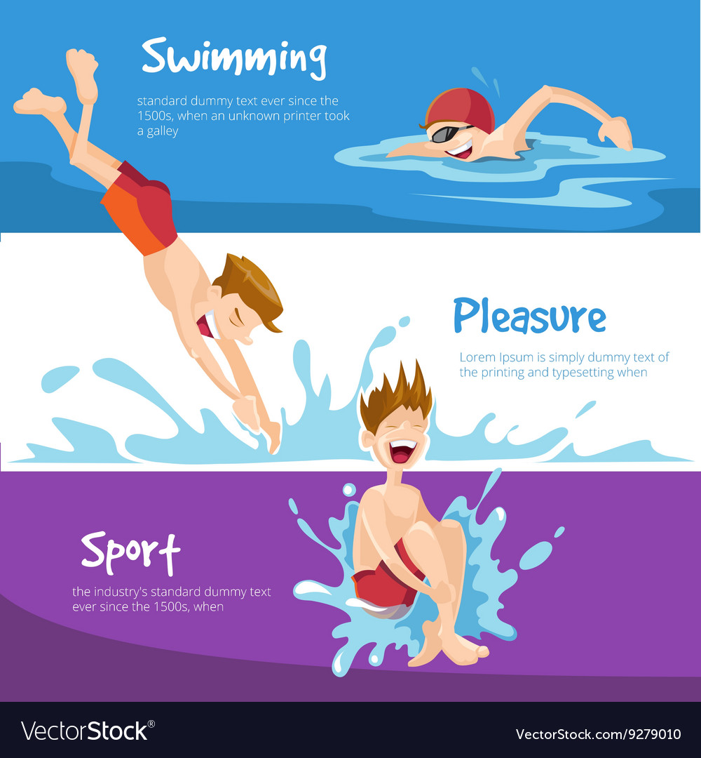 Cheerful boys swims in the pool vector