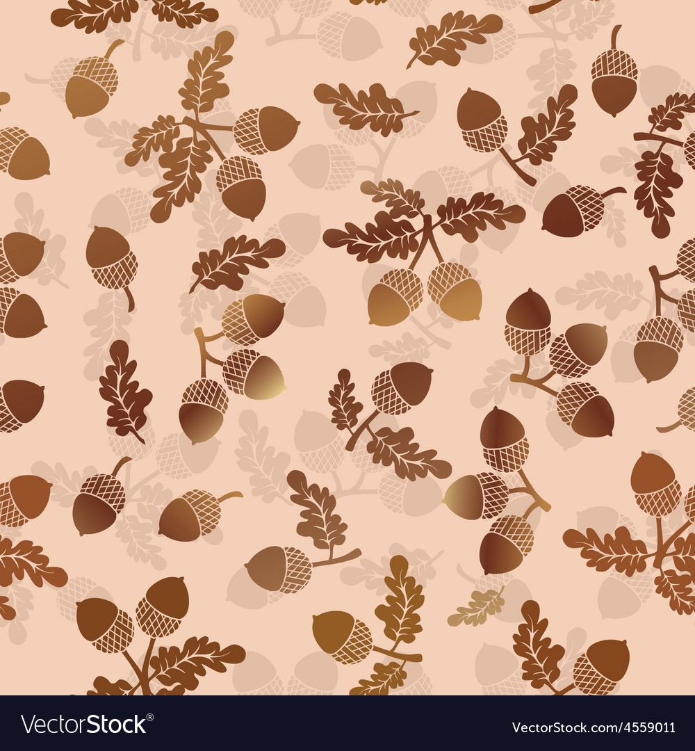 Acorns oak nut seamless pattern vector