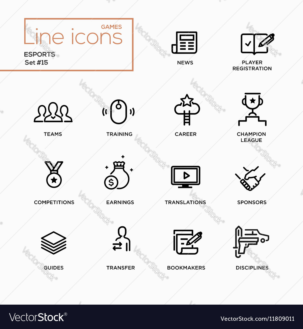 Esports  single line pictograms set vector