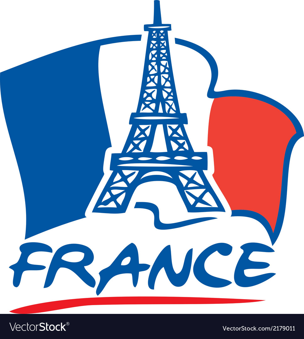 Paris eiffel tower design and france flag vector