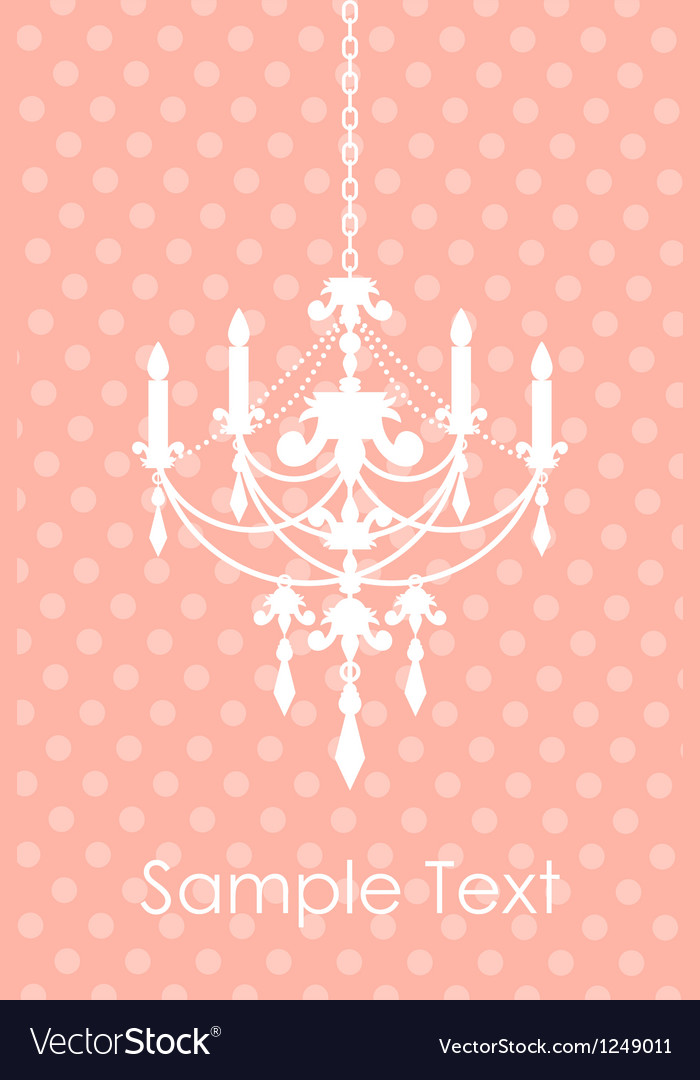 Pink spotted background with chandelier vector