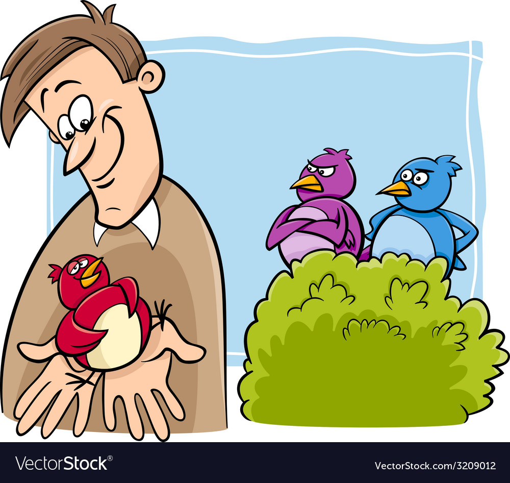 Bird in the hand cartoon vector
