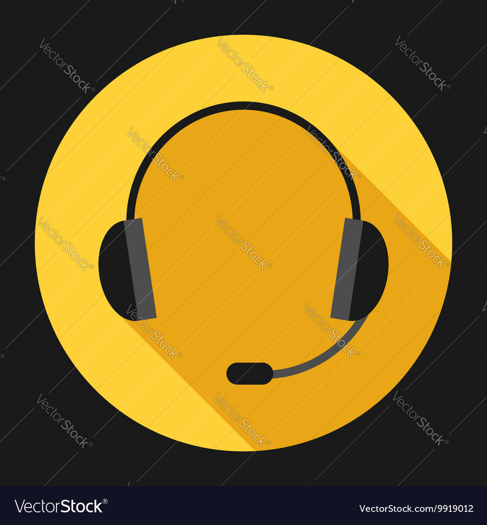 Headset on yellow vector