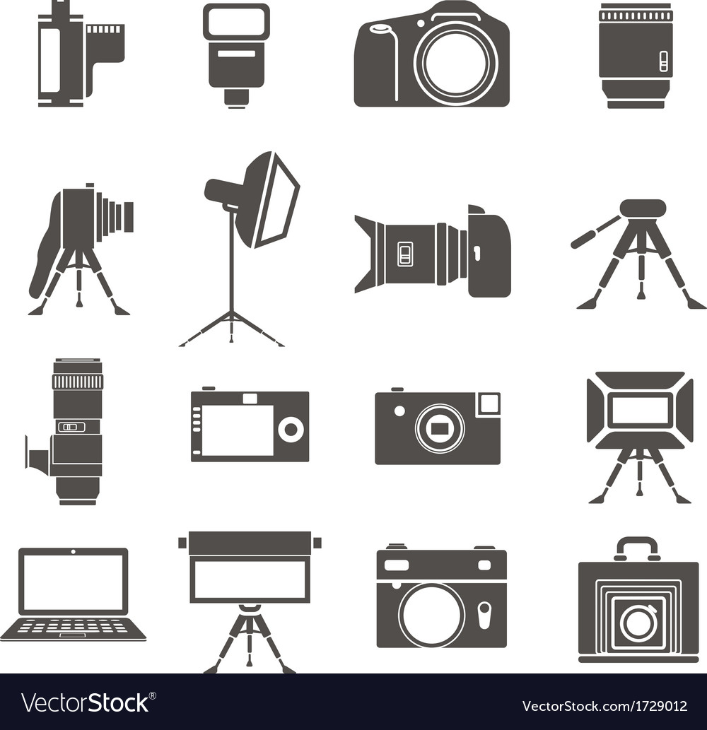 Photo equipment sillhouettes vector