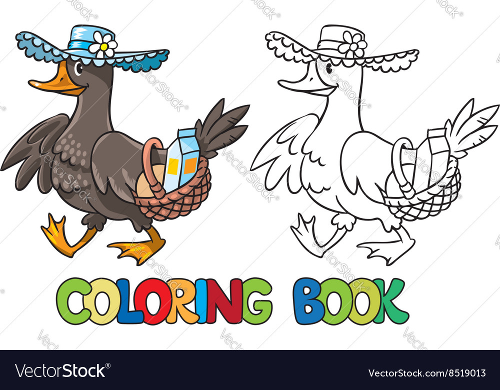 Duck in hat with basket coloring book vector