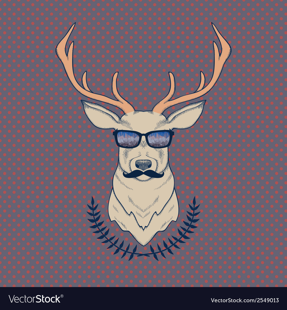 Hand drawn colorful of hipster deer with mus vector