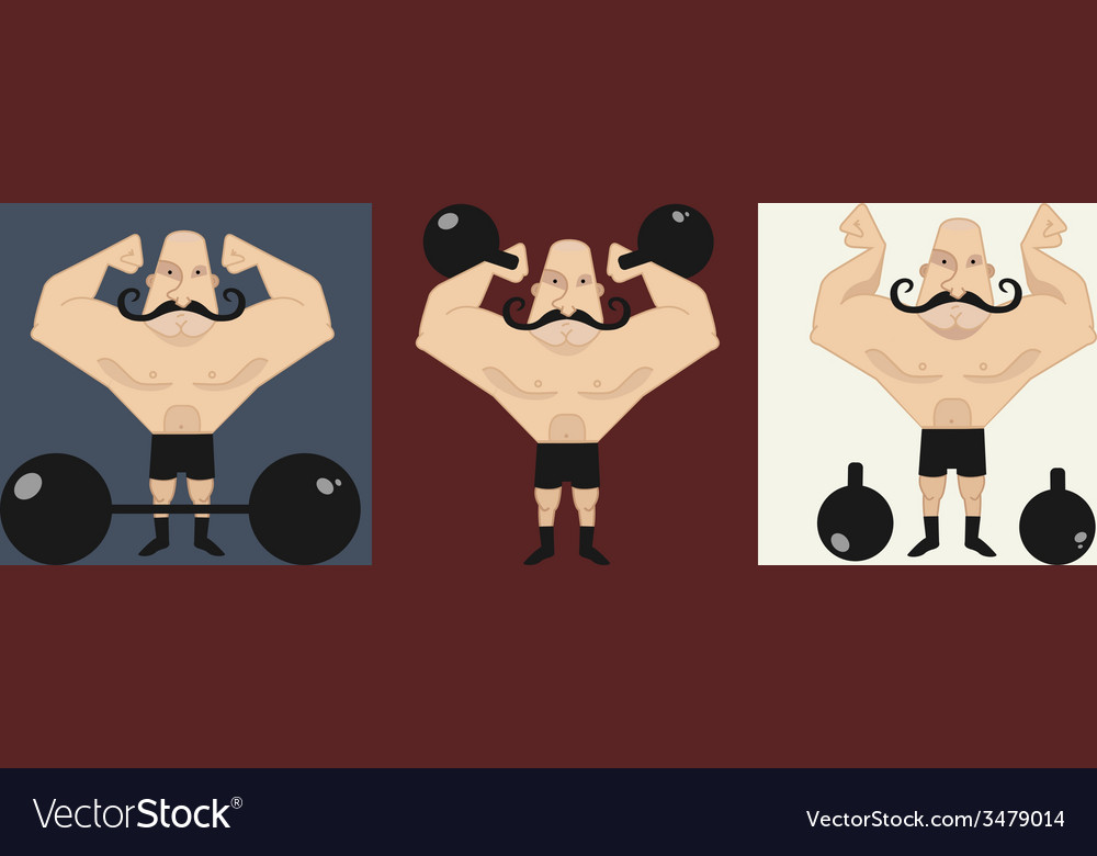 3 strongmans in different poses vector