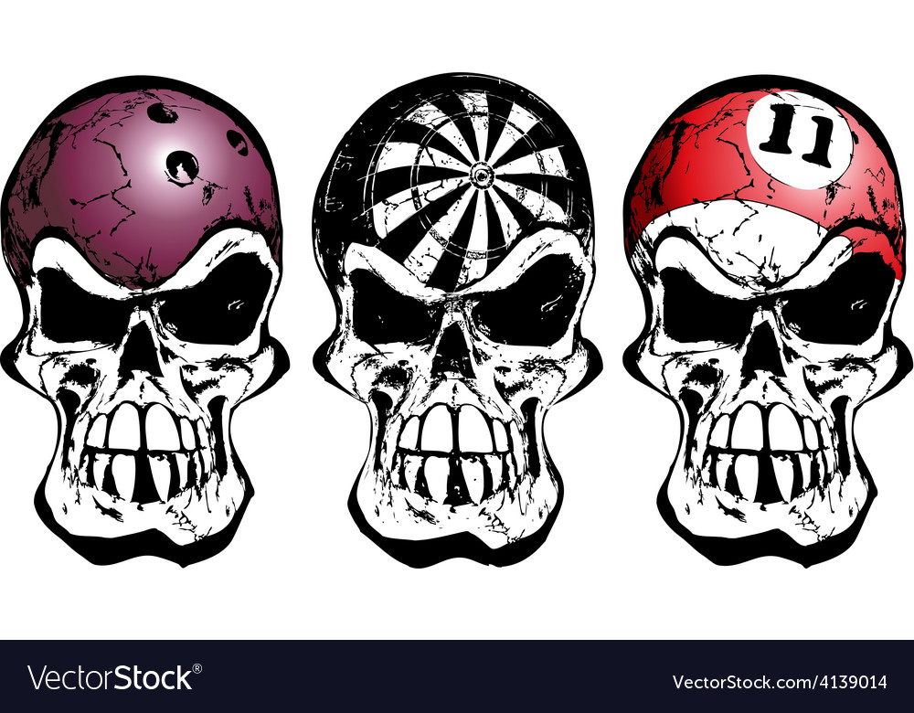 Bowling darts and billiard skulls vector
