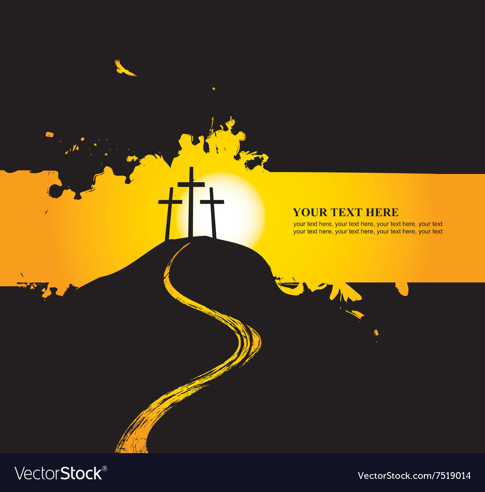 Christian themes with three crosses vector