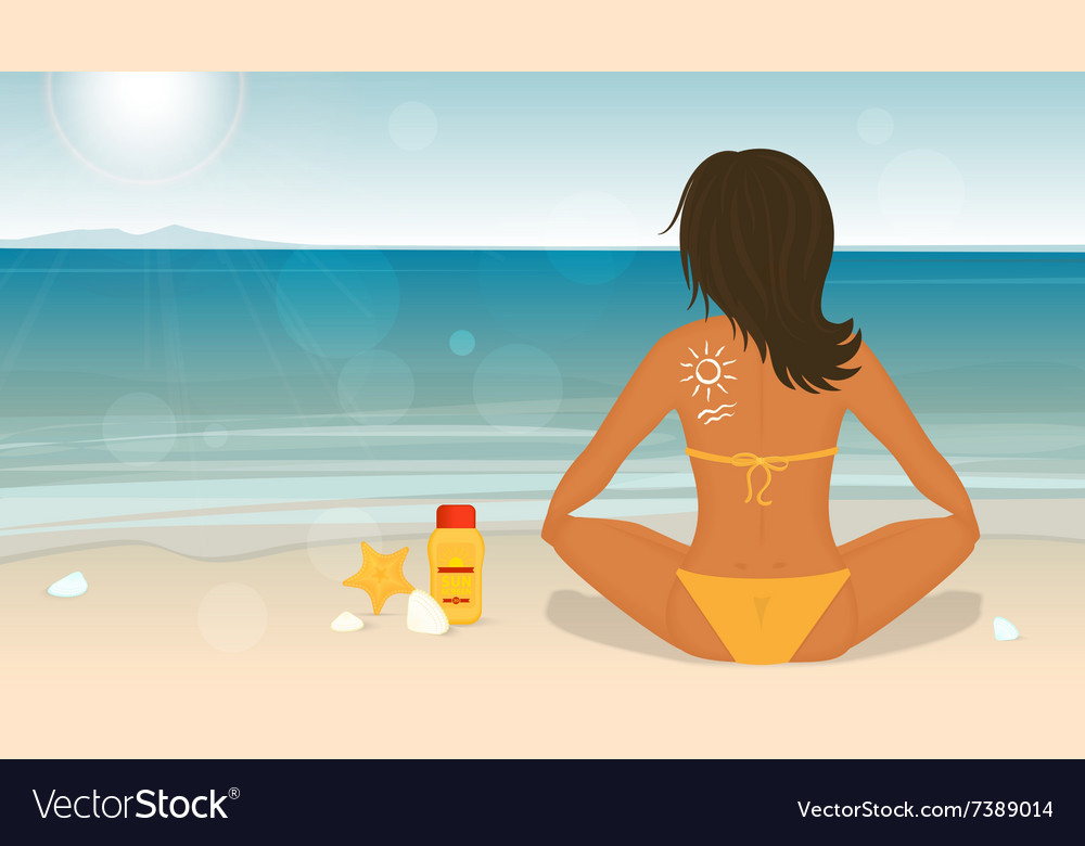 Young girl sunbathes on a beach and caring about vector