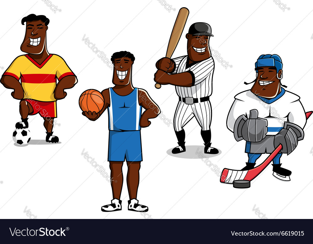 Cartoon sport game professional players vector