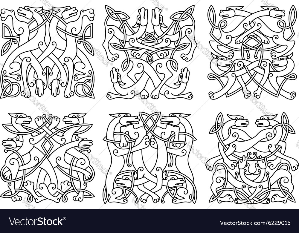 Celtic outline entwined mystical animals vector