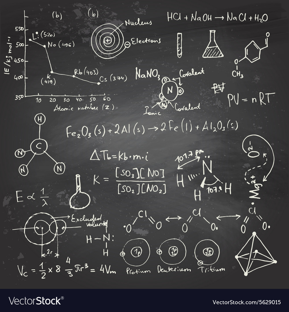 Chemical formulas and drawings on a chalkboard vector