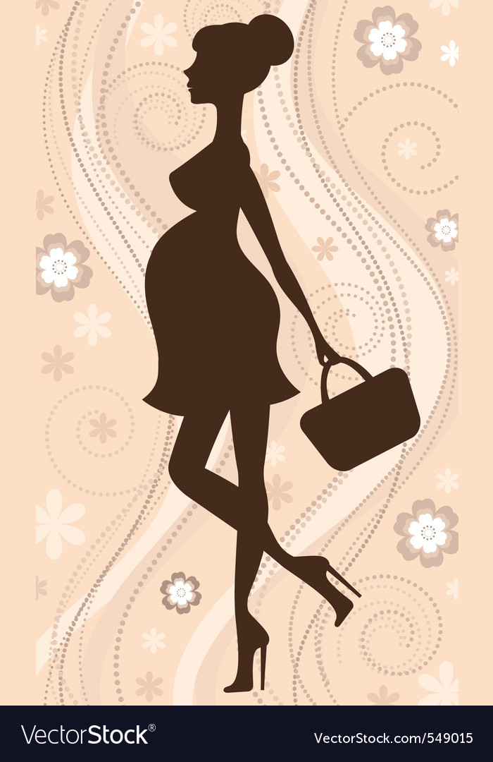 Pregnant woman silhouette vector