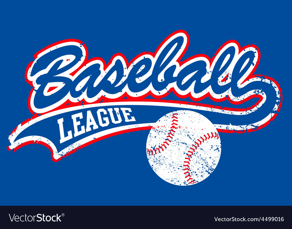 Distressed baseball script with a baseball vector