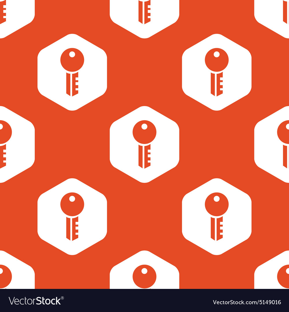 Orange hexagon key pattern vector