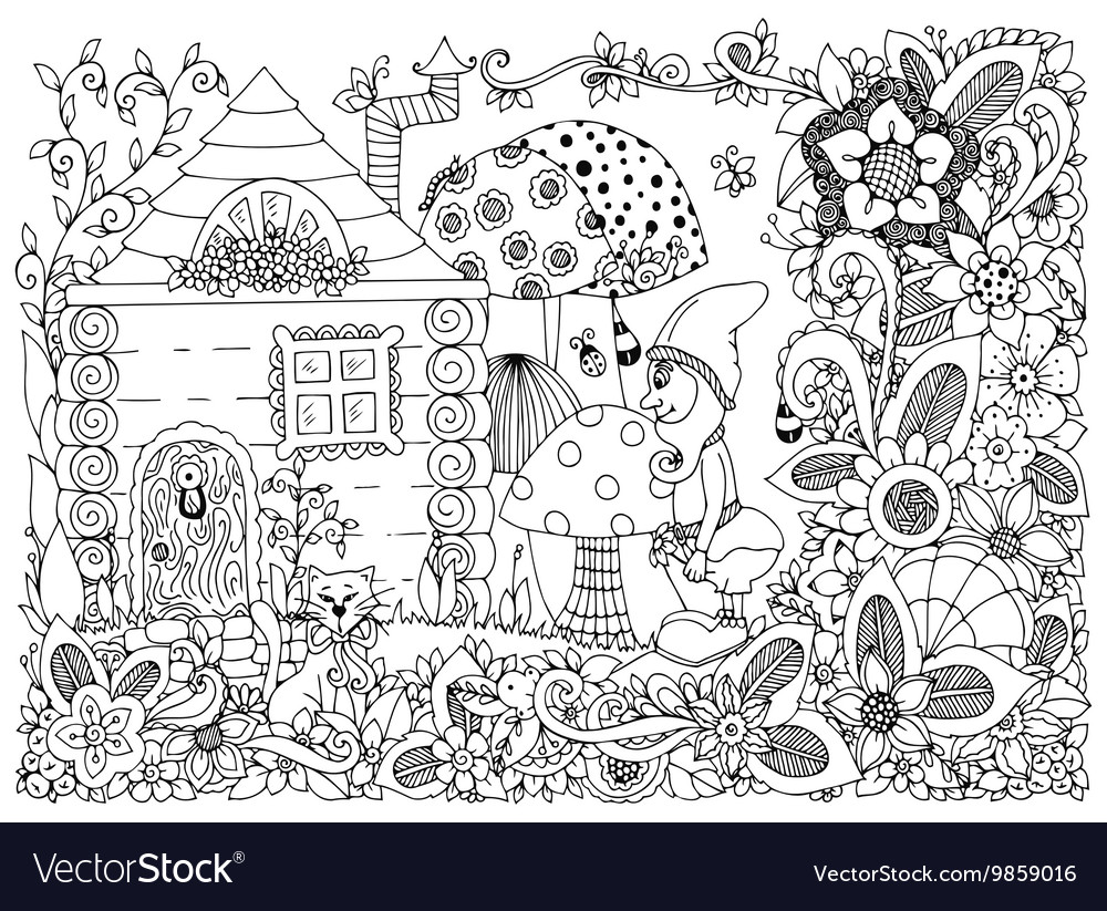Zen tangle gnome and a house vector