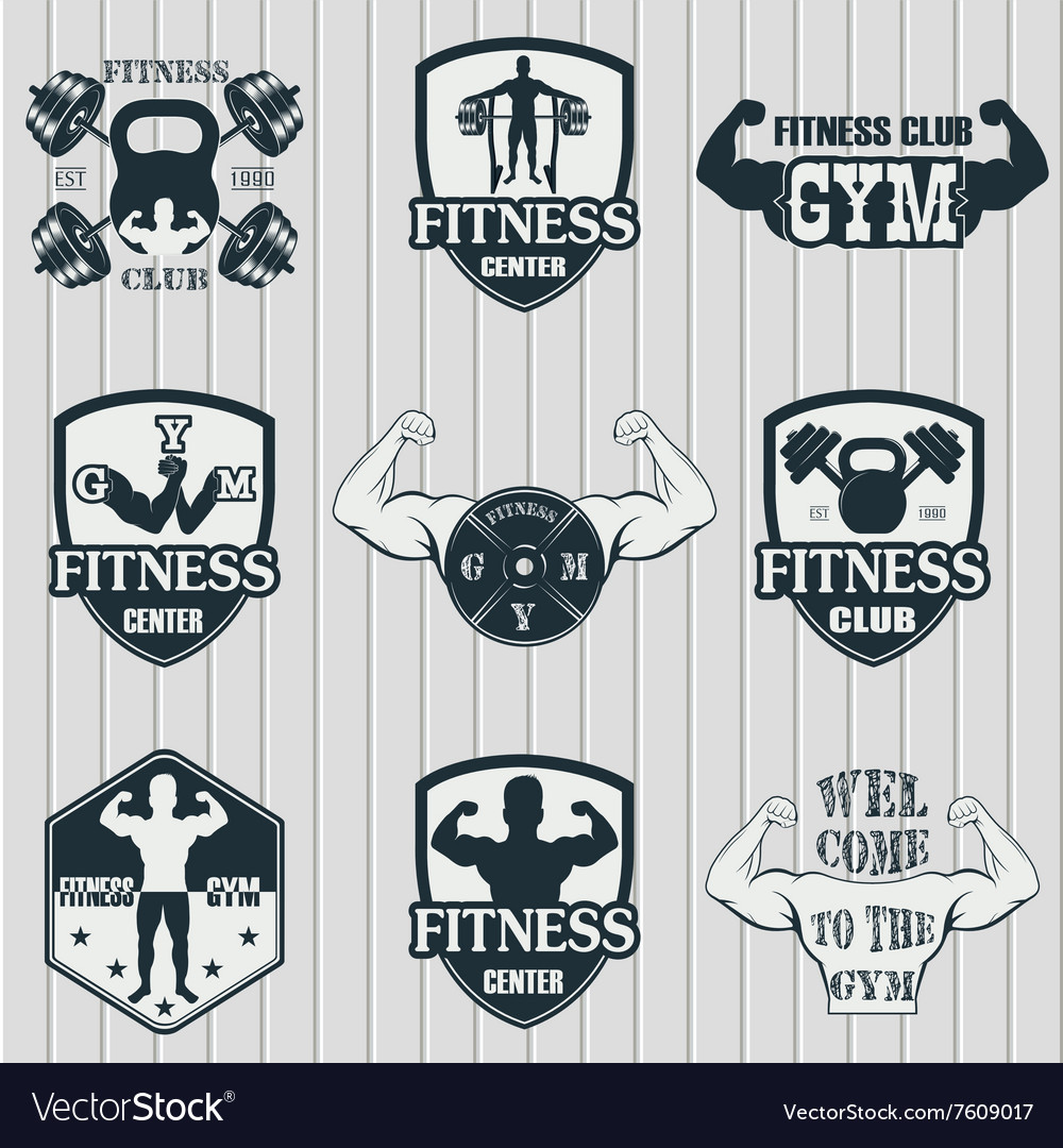 Fitness gym icons vector