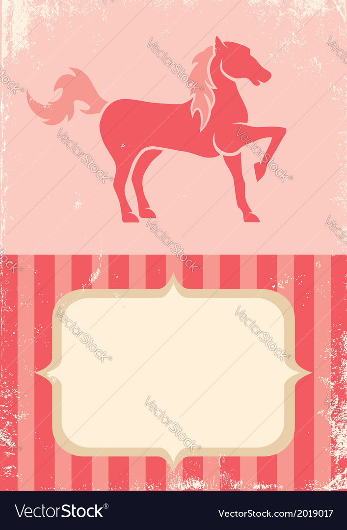 Poster with horse vector
