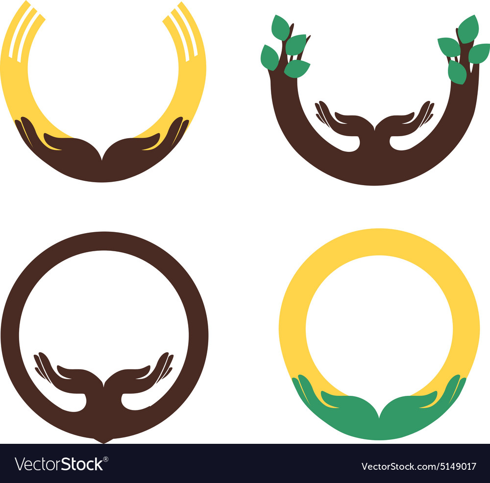 Some round symbols with human palms for design 2 vector