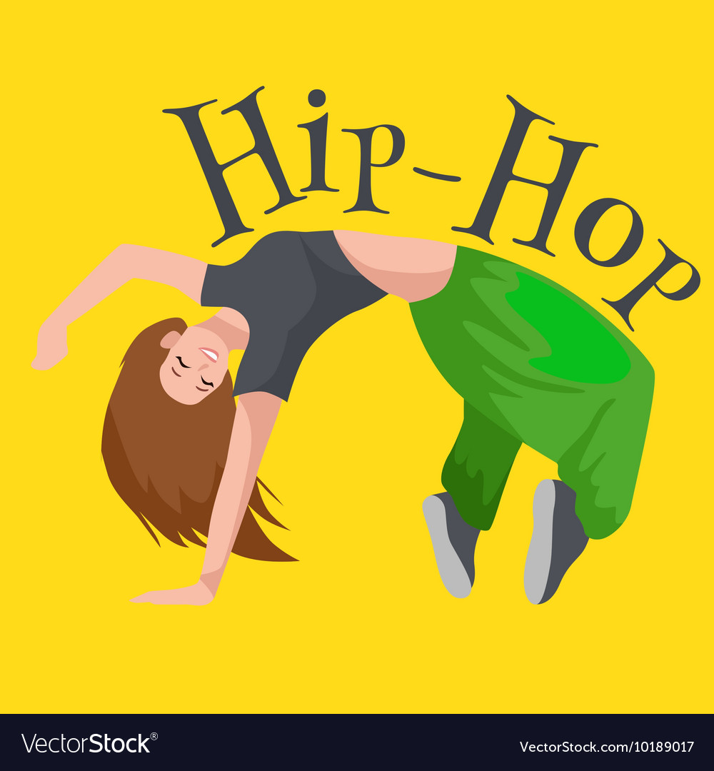 Teenager girl dancing hip hop style isolated vector