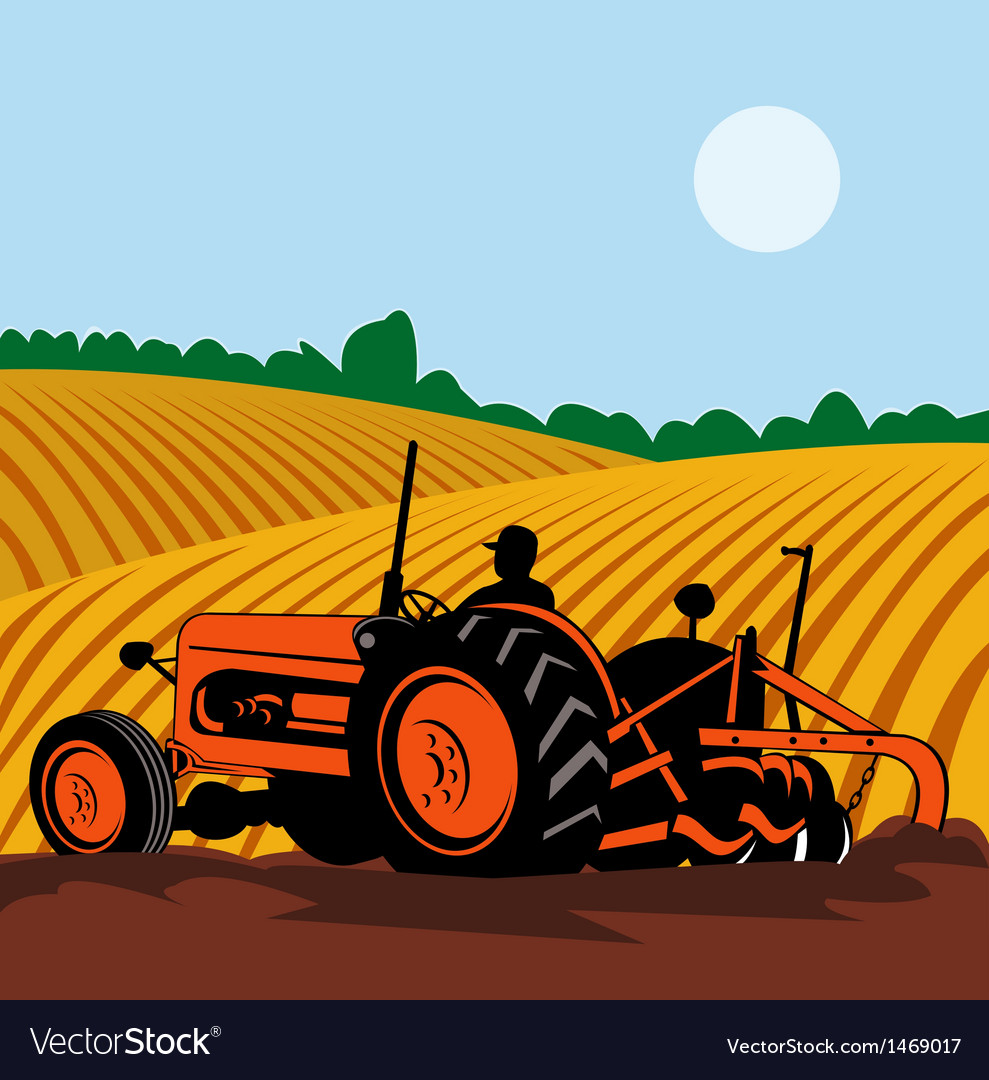Vintage tractor with farmer driving vector