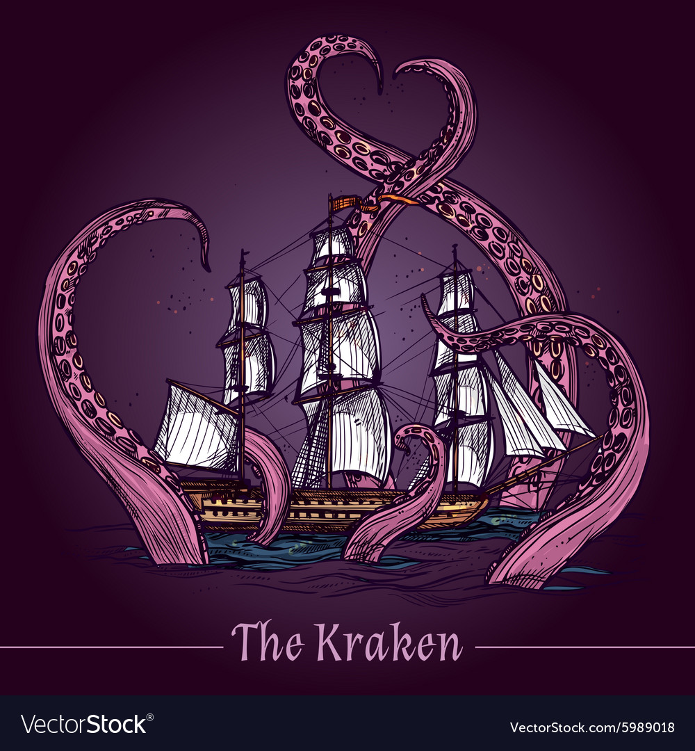 Kraken sketch vector