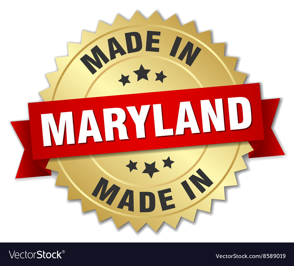 Made in maryland gold badge with red ribbon vector