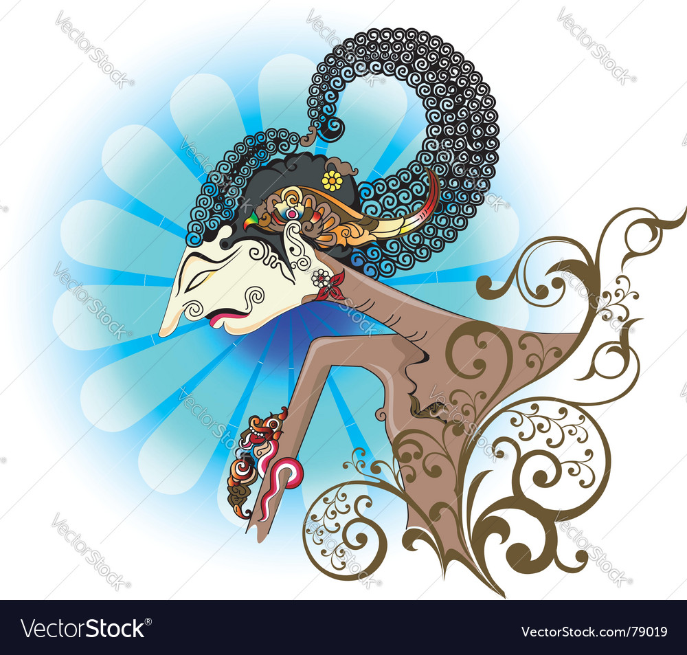 Wayang kulit or shadow puppet vector