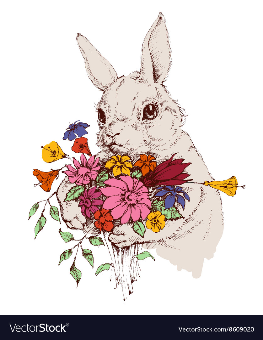 Bunny and a bunch of flowers vector