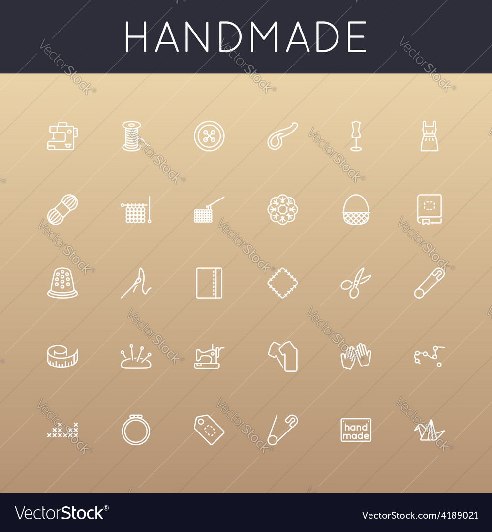 Handmade line icons vector