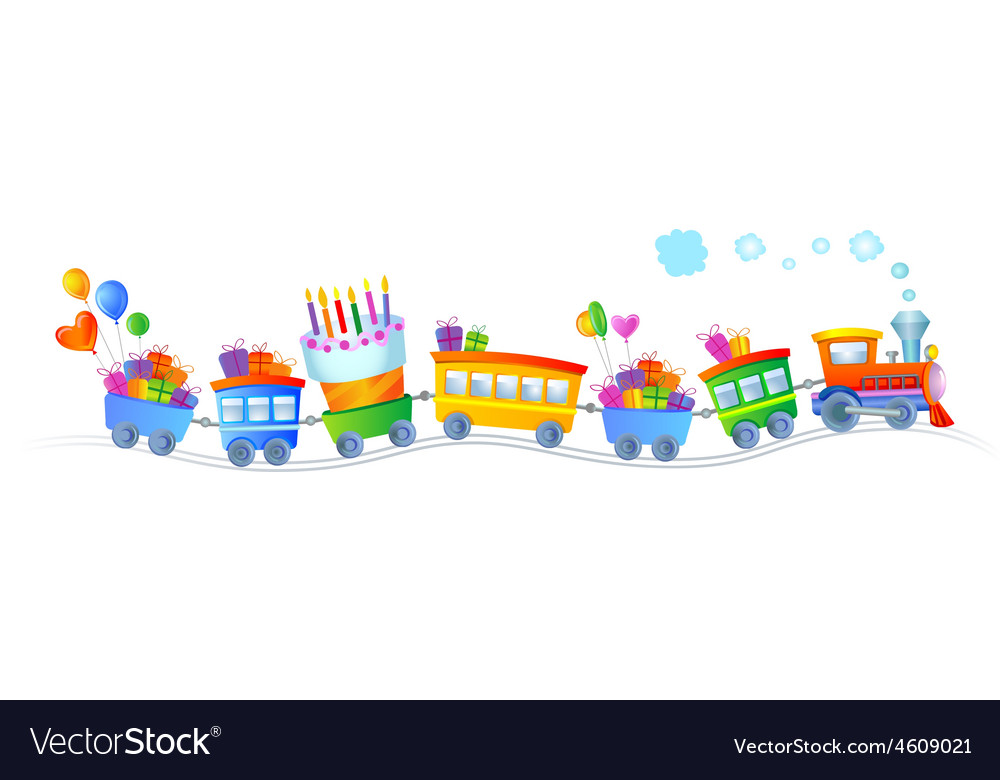 Happy birthday train vector