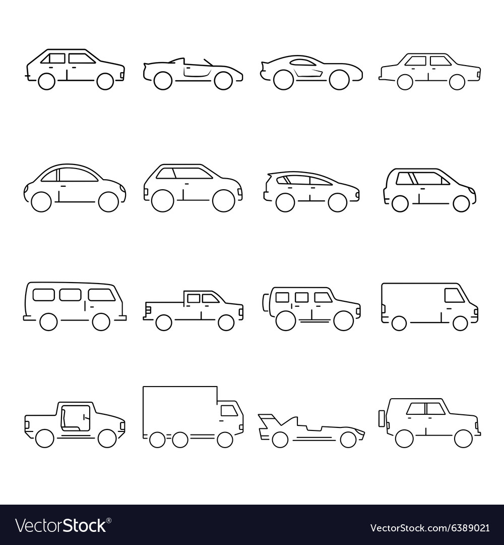 Outline car collection icon vector