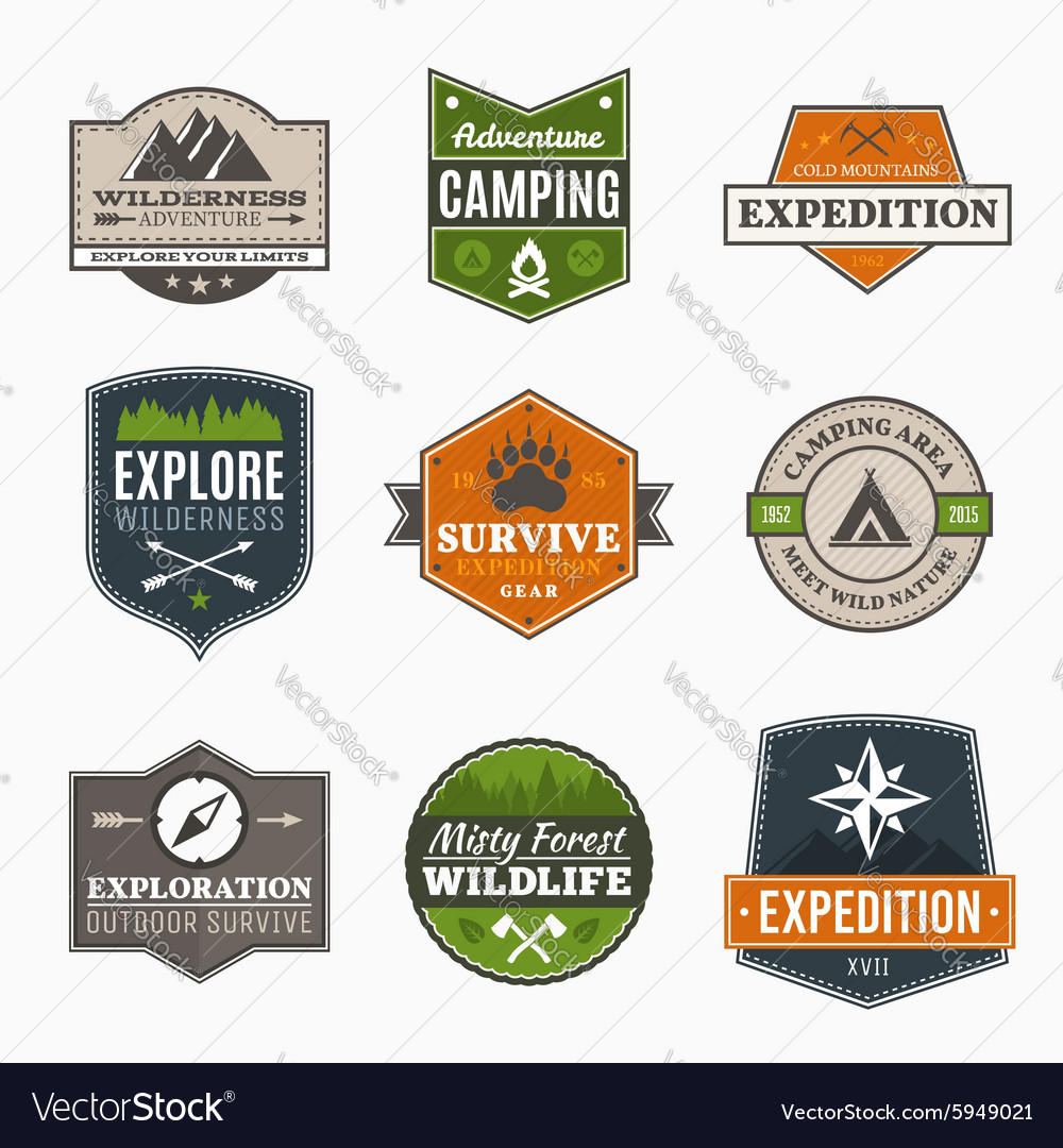 Retro camp badges vector