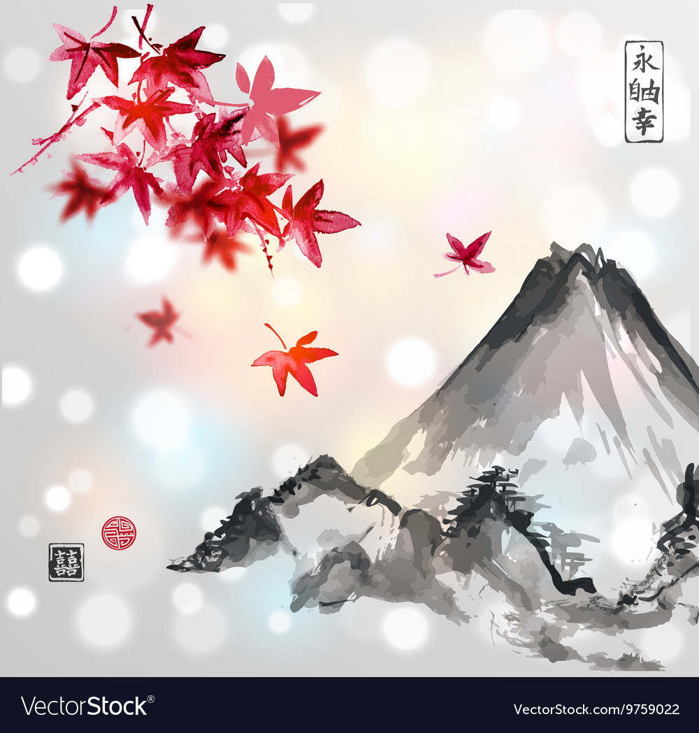 Red japanese maple tree and fujiyama mountain vector
