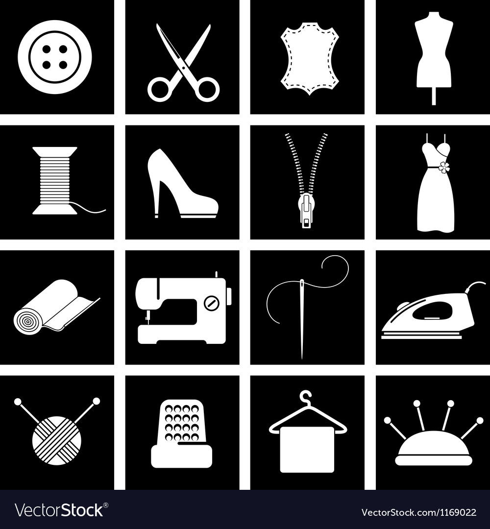 Sewing icons vector