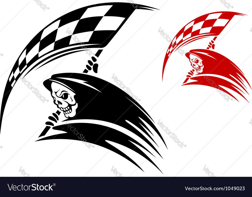 Black death with checkered flag vector