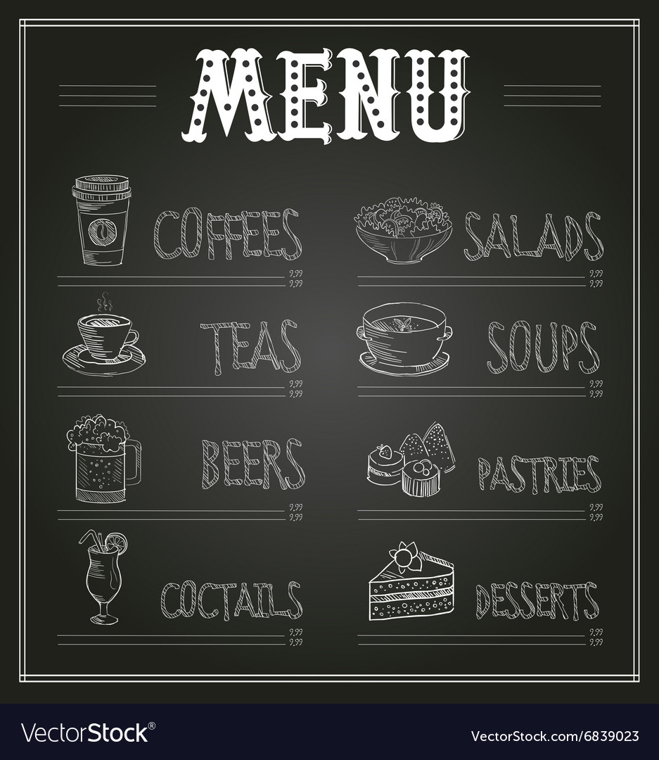 Chalkboard menu template of food and drinks vector